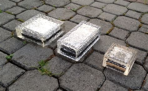 glass solar bricks with led lights