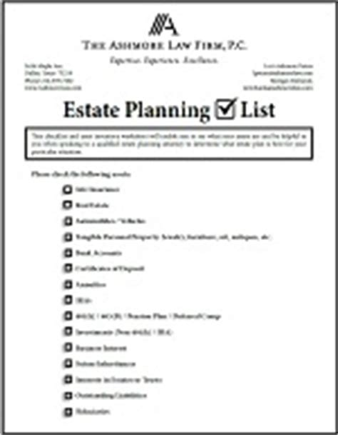 Estate Planning Checklist And Asset Inventory Worksheet  The Ashmore Law Firm, Pc