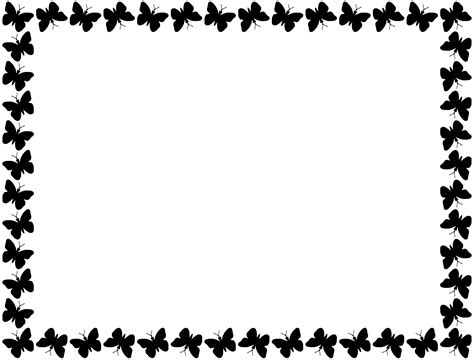 butterfly border black and white black butterfly border png
