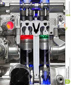 Car Engine Cut-through View Stock Photo