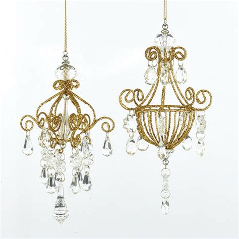 kurt  adler set   gold glittered chandelier christmas