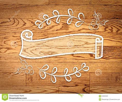 blank vintage ribbon  banner  doodle style  wood
