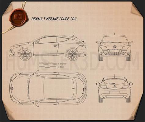 renault megane coupe 2011 blueprint hum3d