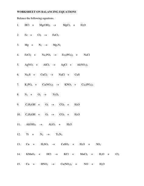 13 Best Images Of Balancing Equations Worksheet Answer Key  Balancing Chemical Equations