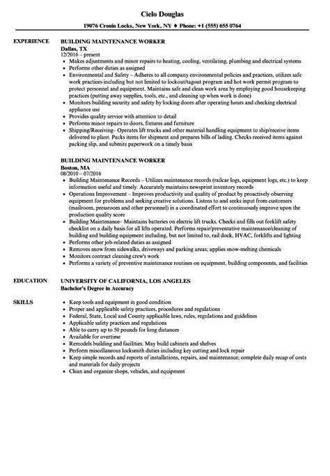 Maintenance Worker Resume by Sle Resume Building Maintenance Worker Building