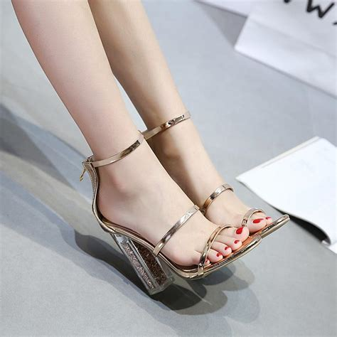 gold sandals ankle strap clear pvc transparent chunky