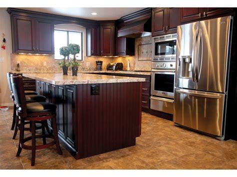 cherry cabinets light granite kitchen ideas