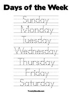Days of the Week Tracing Worksheets Preschool
