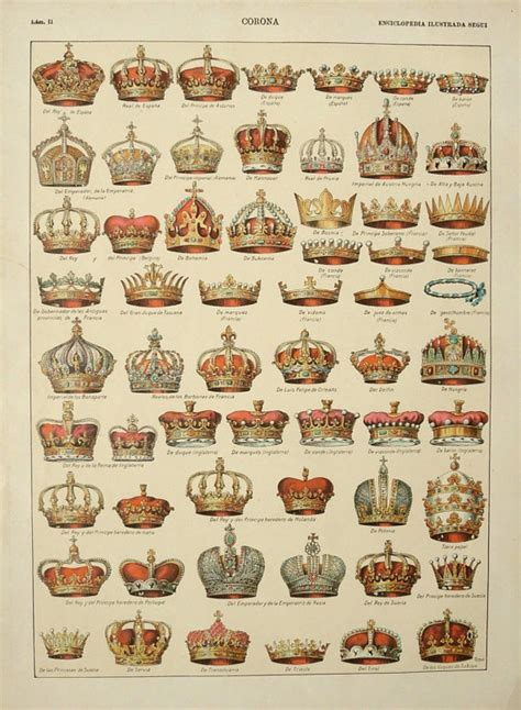 antique coat 1900 antique lithograph of crowns by