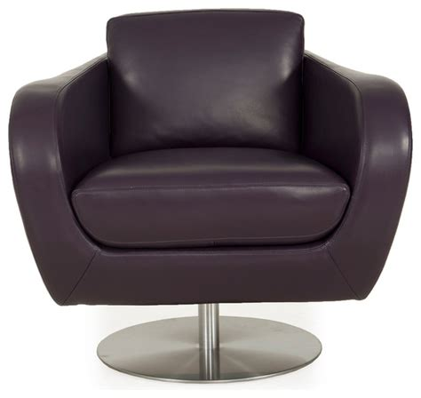 sulu top grain leather swivel chair joker purple modern