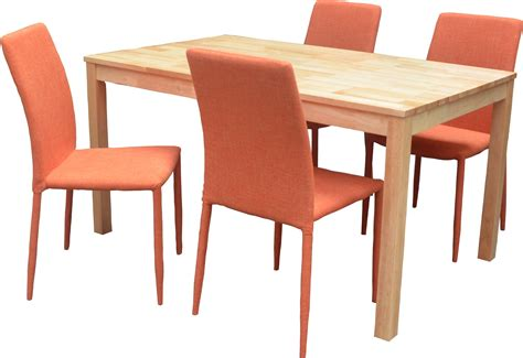 chaises orange ensemble table et 4 chaises contemporain naturel orange