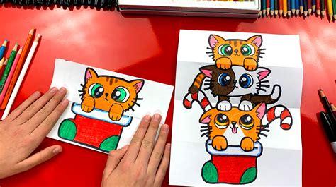 draw  christmas kitten stack folding surprise