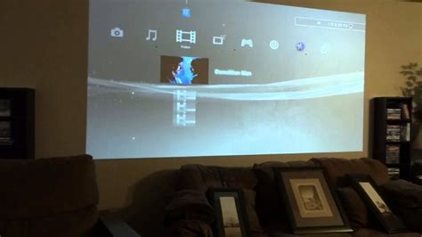 projector projecting  wall  screen youtube