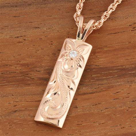 pink gold hawaiian scroll vertical pendant