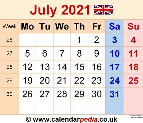 calendar july  uk  excel word   templates