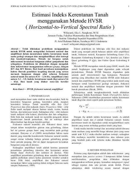 Estimasi Indeks Kerentanan Tanah menggunakan Metode HVSR