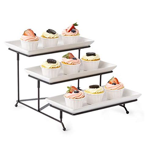 tiered pedestal serving plates  tier collapsible thicker sturdier plate rack stand  plates