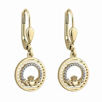 Earrings Irish Claddagh Gold Circle Sterling Silver