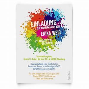 Einladungskarten Zur Konfirmation Farbkleckse Motiv