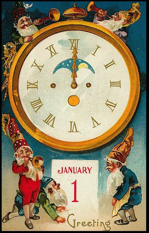 public domain clip art   vintage  year elf card