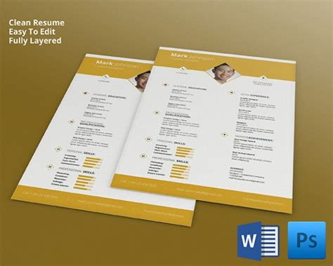 psd resume template 51 free sles exles format