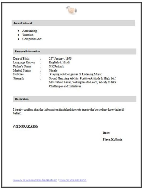 Company Articleship Resume by Resume Sle For Articleship 2 Career And Resume
