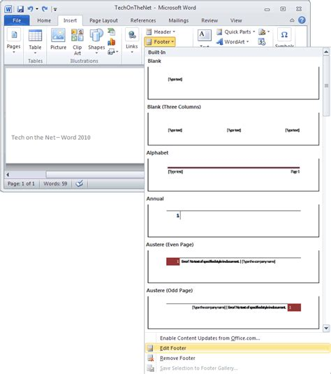 ms word  edit  footer