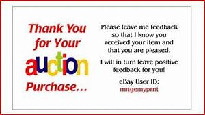 really simple business ideas ebay thank you card template With ebay feedback request template