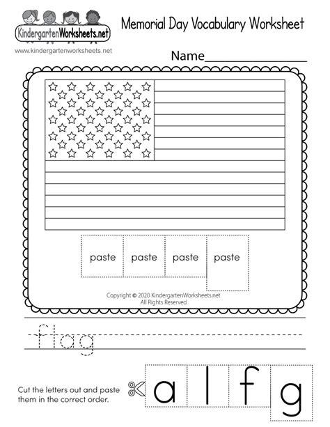 printable memorial day vocabulary worksheet