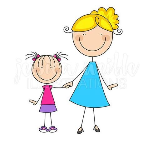and stick figures digital clipart commercial use ok and child