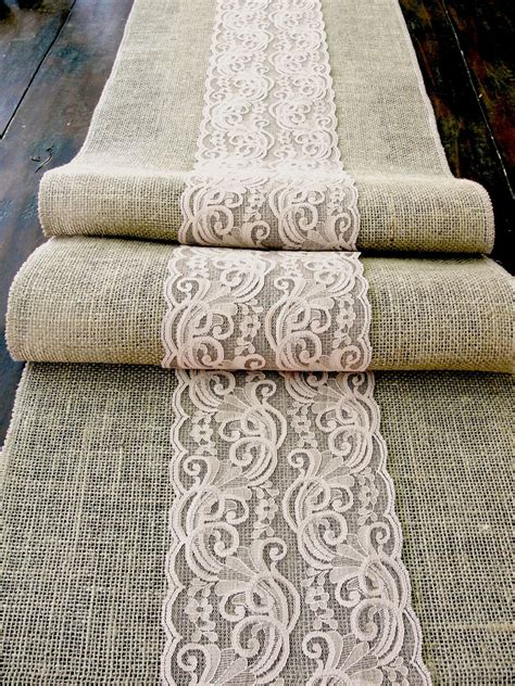 burlap table runner with lace burlap table runner wedding table runner with deep beige lace