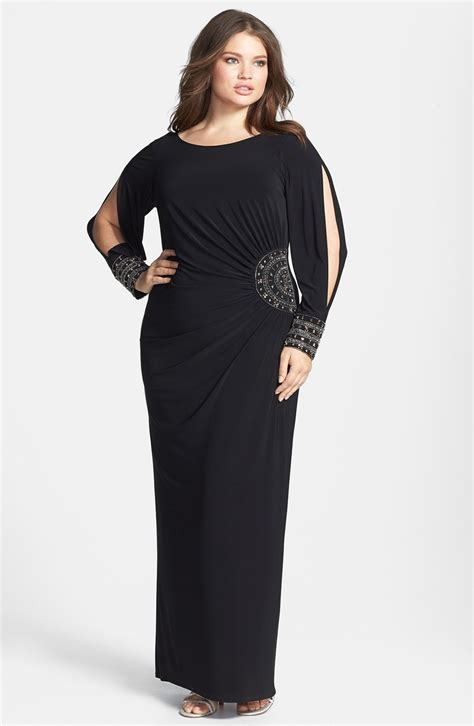 Long Jersey Dress Plus Size Embellished Stretch