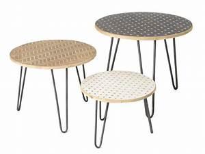 Table Basse 3 Pieds : lot de 3 tables basses gigognes en bois et pieds en fer l60 5 50 5 40 5 cm rafael ~ Teatrodelosmanantiales.com Idées de Décoration