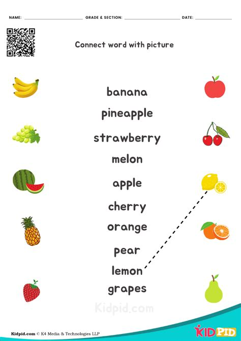 fruit  printable worksheet  kindergarten kidpid