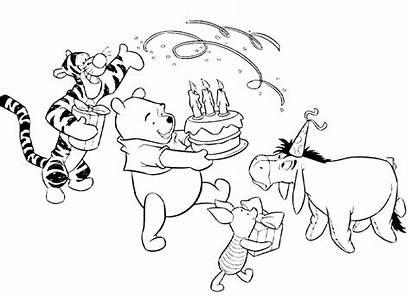 Coloring Pooh Birthday Winnie Happy Printable Dad