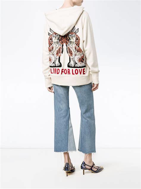 Lyst - Gucci u0026#39;fakeu0026#39; Embroidered Hoodie