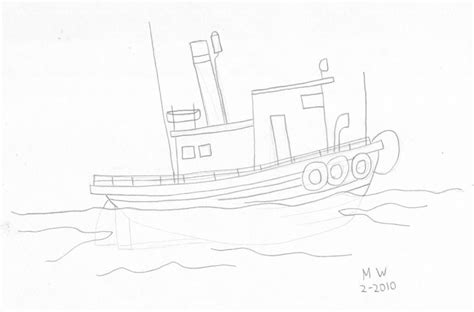 Mini Boat Drawing by Tugboat Drawing The Of Max West