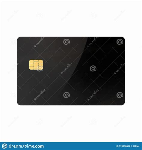 empty black blank  glossy credit card  emv chip
