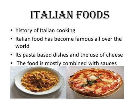 the history of cuisine ppt of italy