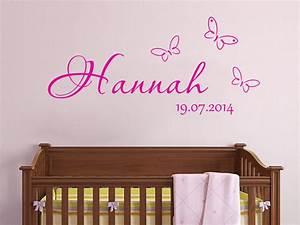 Wandtattoo Baby Mädchen : wandtattoo baby name mit schmetterlingen und datum ~ Markanthonyermac.com Haus und Dekorationen
