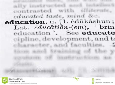 education definition  english dictionary stock photo