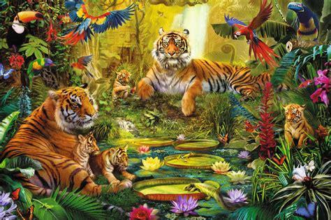 comprar puzzle jumbo familia de tigres en la jungla