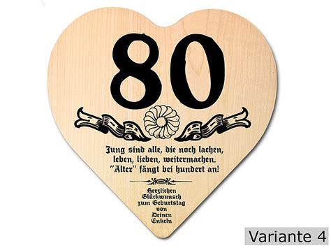 geburtstagssprüche zum 80 geburtstag geschenk zum 80 geburtstag herz holzschild mit wunschtext geschenkeshop mit