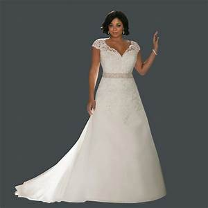 distinctive design v neck crystals short sleeves plus size With plus size short lace wedding dresses