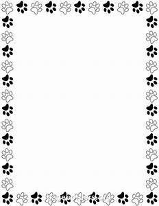 Printable black and white paw print border. Use the border ...