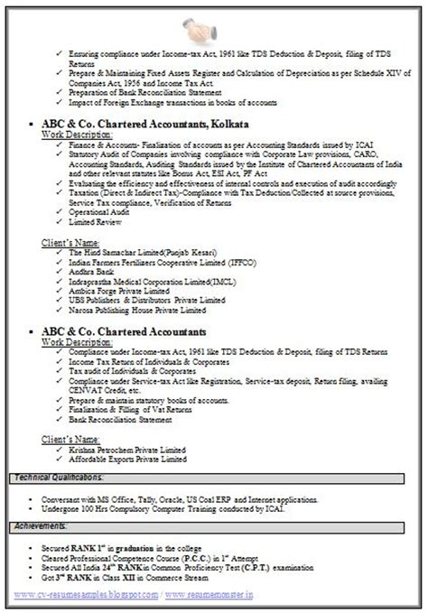 Model Resume For Accountant by Chartered Accountant Resume Format Freshers Page 2 Cv Exles Resume And