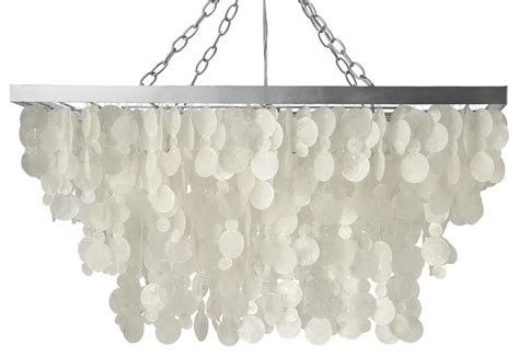 rectangular raindrop capiz chandelier white