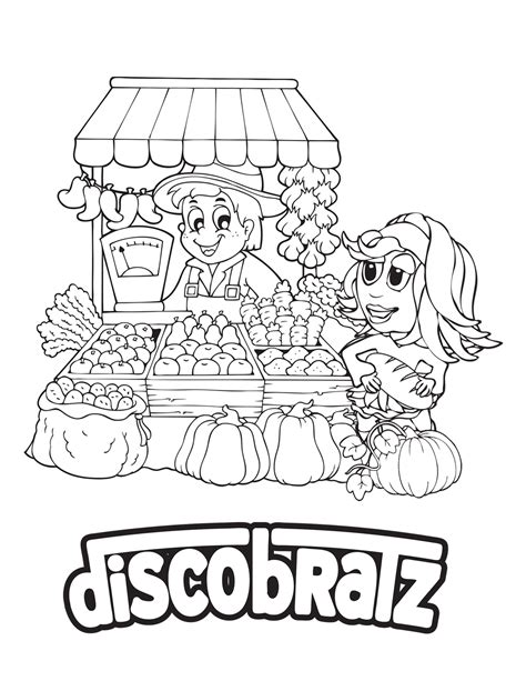 discobratz releases  national nutrition month coloring page