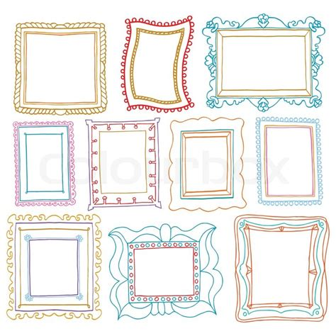 colored picture frames vintage photo frames set drawing stock vector