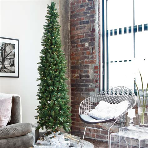 walmartcom t 38 artificial christmas trees 6ft 7ft classic pine pre lit pencil tree trees at hayneedle